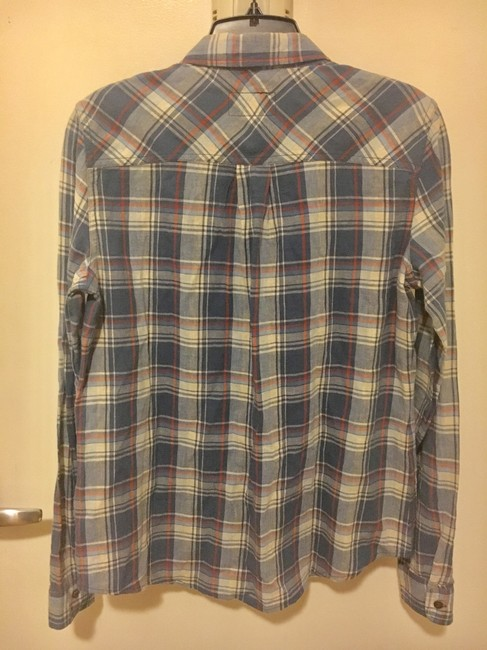 Current/Elliott California Girl Slim Boy Button Down Shirt Blue