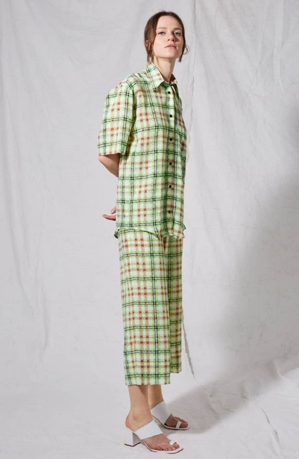 Topshop Silk Check Print Trouser Pants White and Green