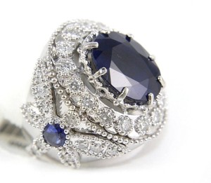 Other Oval Blue Sapphire Ring w/Dragonfly Diamond Accents 14k WG 12.42Ct
