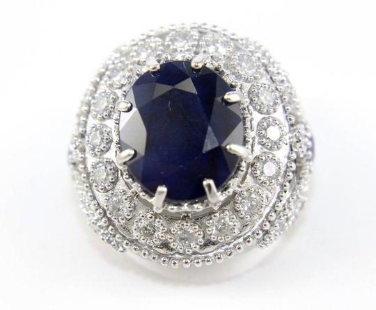 Other Oval Blue Sapphire Ring w/Dragonfly Diamond Accents 14k WG 12.42Ct Image 1