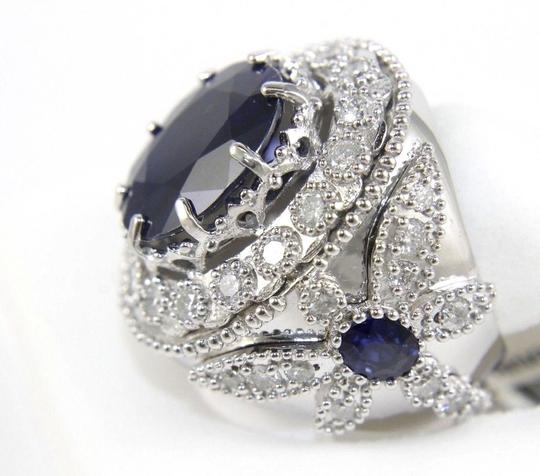 Other Oval Blue Sapphire Ring w/Dragonfly Diamond Accents 14k WG 12.42Ct Image 2