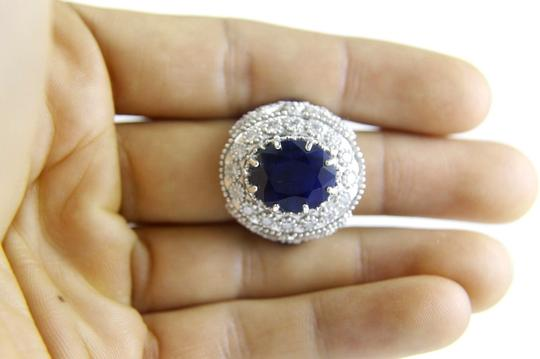 Other Oval Blue Sapphire Ring w/Dragonfly Diamond Accents 14k WG 12.42Ct Image 3