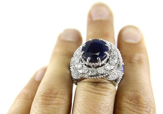 Other Oval Blue Sapphire Ring w/Dragonfly Diamond Accents 14k WG 12.42Ct Image 4