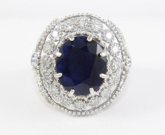 Other Oval Blue Sapphire Ring w/Dragonfly Diamond Accents 14k WG 12.42Ct Image 5