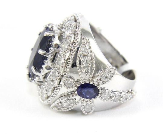 Other Oval Blue Sapphire Ring w/Dragonfly Diamond Accents 14k WG 12.42Ct Image 6