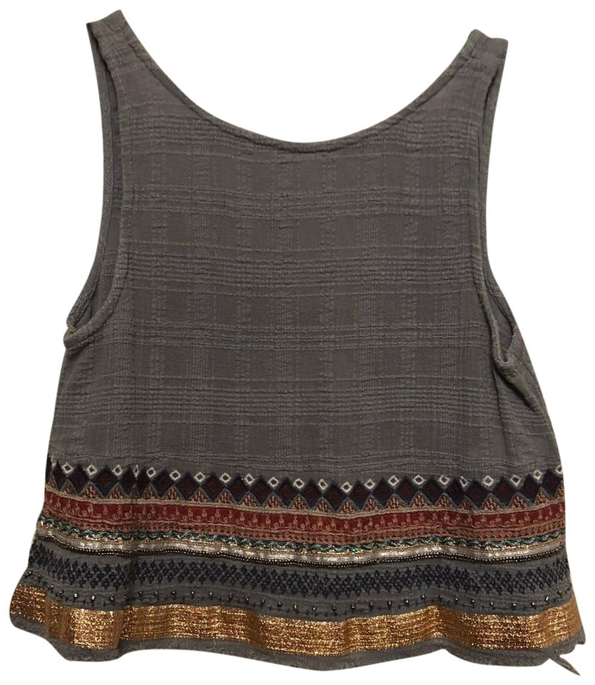 6a241a6dfc96f Ecote Blue Embroidered Crop Too Tank Top Cami Size 4 (S) - Tradesy