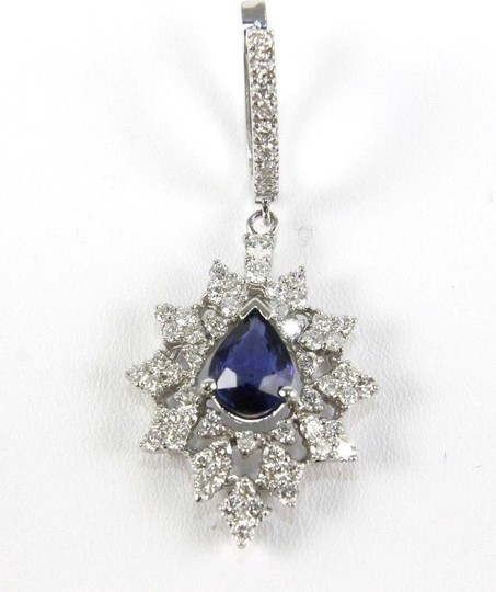 Other Blue Sapphire Pear Drop Earrings w/Diamond Accents 14K WG 6.84Ct Image 1