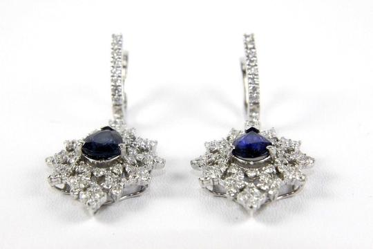 Other Blue Sapphire Pear Drop Earrings w/Diamond Accents 14K WG 6.84Ct Image 2