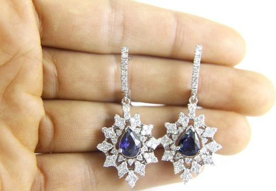 Other Blue Sapphire Pear Drop Earrings w/Diamond Accents 14K WG 6.84Ct Image 3
