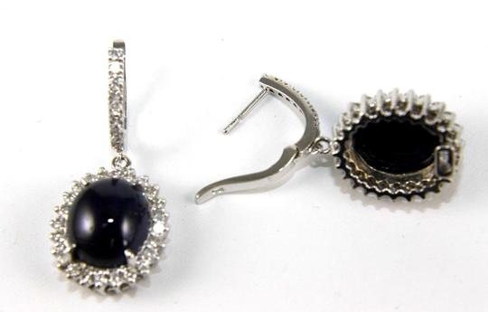 Other Oval Cabochon Blue Sapphire & Diamond Drop Earrings 14K WG 24.64Ct Image 1