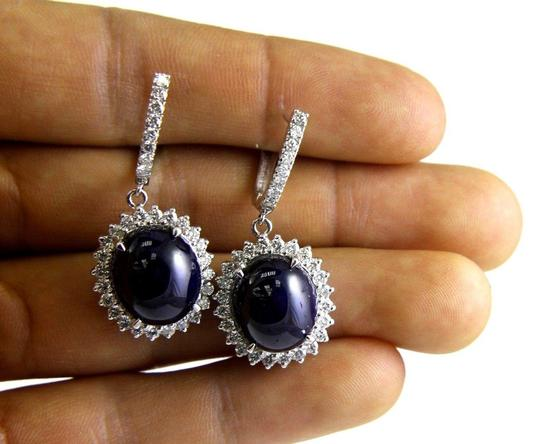 Other Oval Cabochon Blue Sapphire & Diamond Drop Earrings 14K WG 24.64Ct Image 2