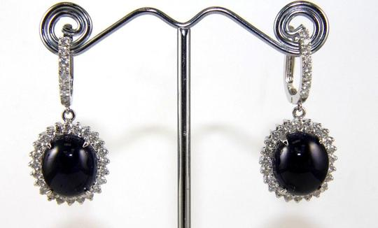 Other Oval Cabochon Blue Sapphire & Diamond Drop Earrings 14K WG 24.64Ct Image 3