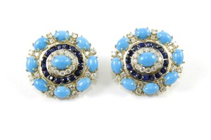 Other Round Turquoise, Diamond & Sapphire Fashion Earrings 14K YG 24.45Ct