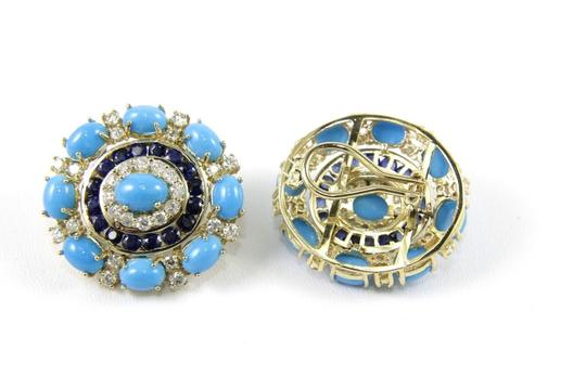 Other Round Turquoise, Diamond & Sapphire Fashion Earrings 14K YG 24.45Ct Image 1