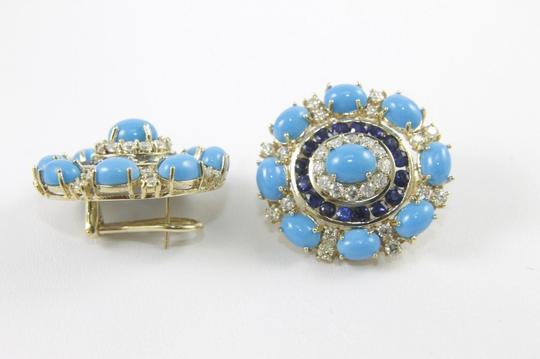 Other Round Turquoise, Diamond & Sapphire Fashion Earrings 14K YG 24.45Ct Image 2