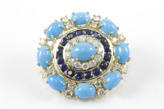 Other Round Turquoise, Diamond & Sapphire Fashion Earrings 14K YG 24.45Ct Image 3