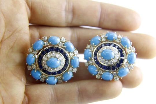Other Round Turquoise, Diamond & Sapphire Fashion Earrings 14K YG 24.45Ct Image 4