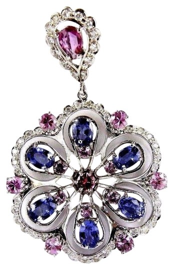 Preload https://img-static.tradesy.com/item/24098205/blue-and-pink-and-silver-round-sapphire-tanzanite-diamond-cluster-pendant-14k-wg-1114ct-necklace-0-1-540-540.jpg