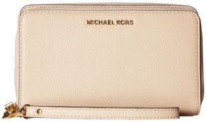 Michael Kors Adele Leather Double Wallet 32h5gafe1l Zip Phone Wristlet in Oyster