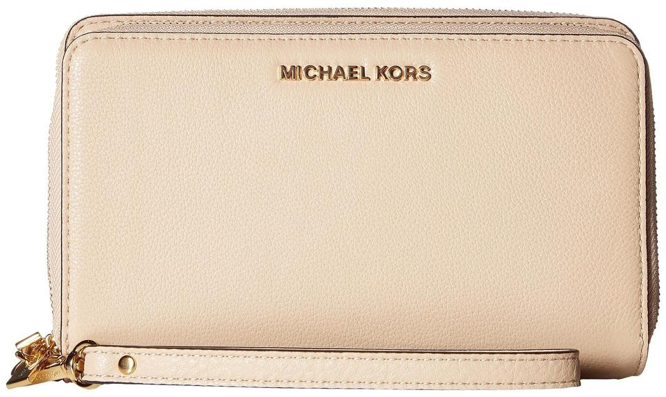 1928475d80d4 Michael Kors Adele Leather Double Wallet 32h5gafe1l Zip Phone Wristlet in  Oyster Image 0 ...