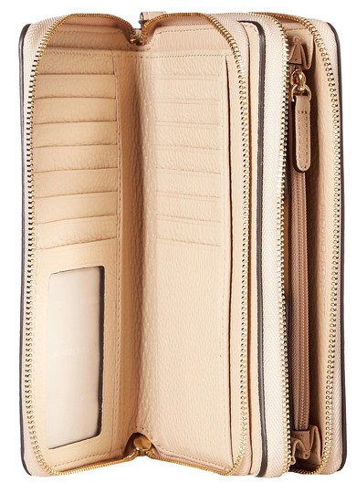 Michael Kors Adele Leather Double Wallet 32h5gafe1l Zip Phone Wristlet in Oyster Image 3