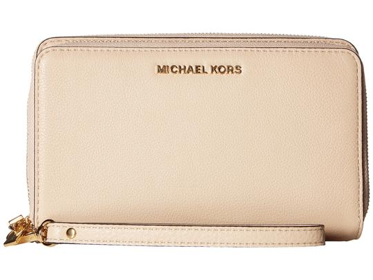Michael Kors Adele Leather Double Wallet 32h5gafe1l Zip Phone Wristlet in Oyster Image 4