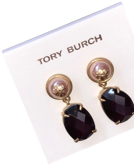 Preload https://img-static.tradesy.com/item/24098346/tory-burch-gold-purple-epoxy-pearl-stone-earrings-0-1-540-540.jpg