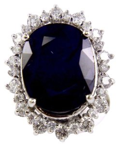 Other Oval Cut Blue Sapphire Cocktail Ring w/Diamond Halo 14k WG 25.04Ct