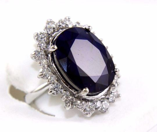 Other Oval Cut Blue Sapphire Cocktail Ring w/Diamond Halo 14k WG 25.04Ct Image 1