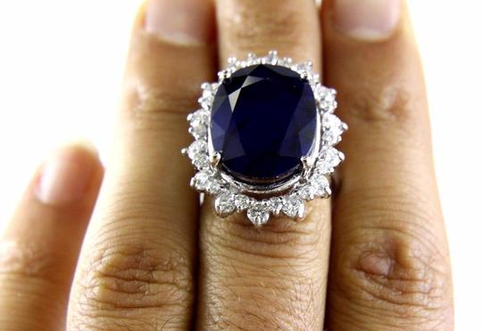 Other Oval Cut Blue Sapphire Cocktail Ring w/Diamond Halo 14k WG 25.04Ct Image 3