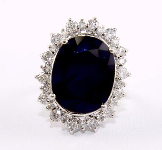 Other Oval Cut Blue Sapphire Cocktail Ring w/Diamond Halo 14k WG 25.04Ct Image 4