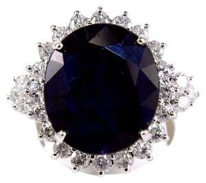Other Oval Cut Blue Sapphire Cocktail Ring w/Diamond Halo 14k WG 17.24Ct