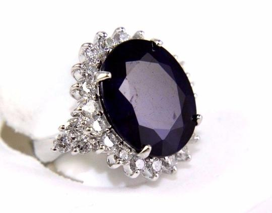 Other Oval Cut Blue Sapphire Cocktail Ring w/Diamond Halo 14k WG 17.24Ct Image 1