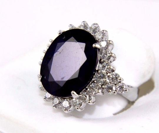 Other Oval Cut Blue Sapphire Cocktail Ring w/Diamond Halo 14k WG 17.24Ct Image 2