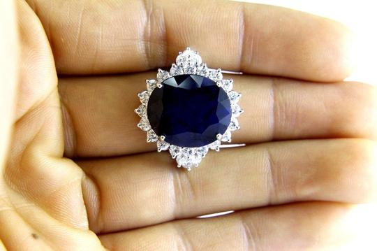 Other Oval Cut Blue Sapphire Cocktail Ring w/Diamond Halo 14k WG 17.24Ct Image 3