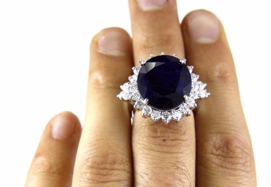 Other Oval Cut Blue Sapphire Cocktail Ring w/Diamond Halo 14k WG 17.24Ct Image 4