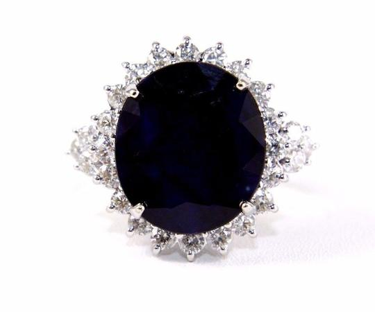 Other Oval Cut Blue Sapphire Cocktail Ring w/Diamond Halo 14k WG 17.24Ct Image 5