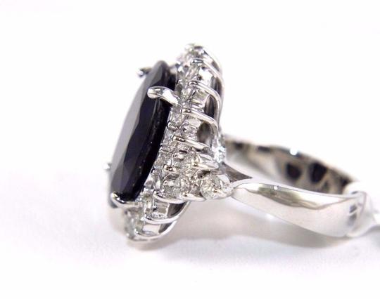 Other Oval Cut Blue Sapphire Cocktail Ring w/Diamond Halo 14k WG 17.24Ct Image 6