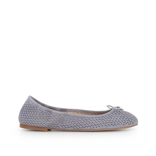 Sam Edelman Suede Leather Perforated Grey Flats Image 1
