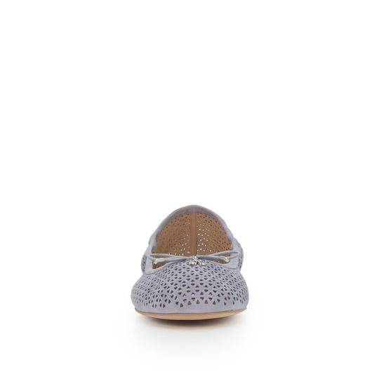 Sam Edelman Suede Leather Perforated Grey Flats Image 2