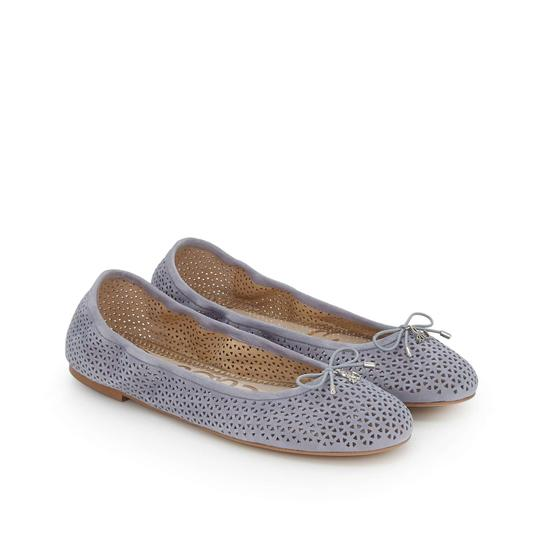 Sam Edelman Suede Leather Perforated Grey Flats Image 6