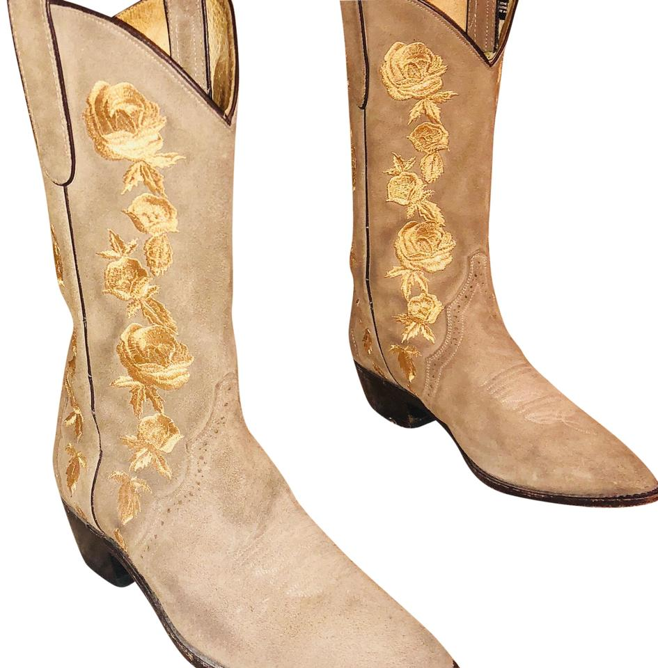 c524bfe14 Beige with Gold Embroidery Ladies Suede Flower Cowboy Boots/Booties ...