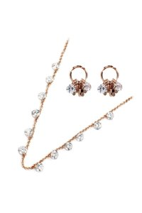 Ocean Fashion Elegant Rose Gold Crystal Earrings Necklace Set