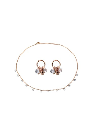 Ocean Fashion Elegant Rose Gold Crystal Earrings Necklace Set Image 1