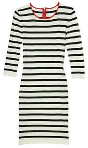 INTERMIX short dress Black, white and red Striped Bodycon on Tradesy