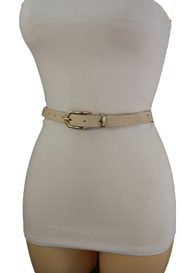 Alwaystyle4you Women Cream Ivory Belt Hip Narrow Skinny Gold Metal Chain Links Buckle Image 1