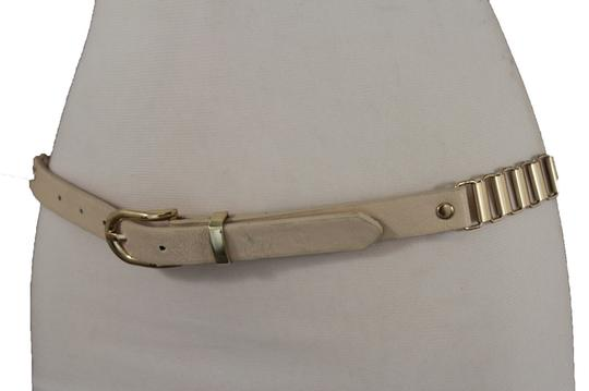 Alwaystyle4you Women Cream Ivory Belt Hip Narrow Skinny Gold Metal Chain Links Buckle Image 11