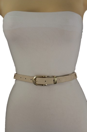 Alwaystyle4you Women Cream Ivory Belt Hip Narrow Skinny Gold Metal Chain Links Buckle Image 2