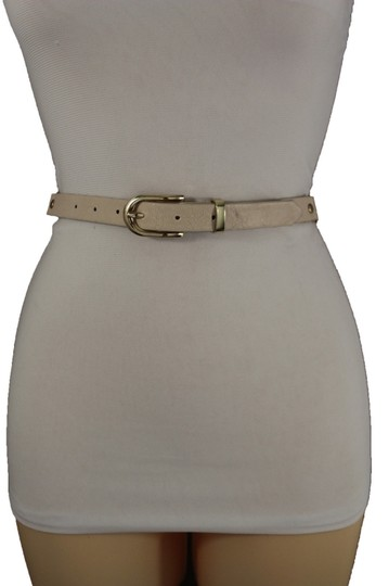 Alwaystyle4you Women Cream Ivory Belt Hip Narrow Skinny Gold Metal Chain Links Buckle Image 3