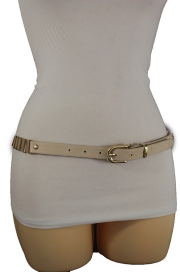 Alwaystyle4you Women Cream Ivory Belt Hip Narrow Skinny Gold Metal Chain Links Buckle Image 4
